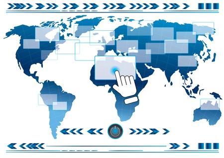hand pushing button global link concept, Vector Eps10