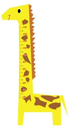 hoog gras: Height scale kinderen giraf vector