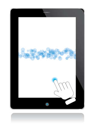 computer tablet with hand and blue graphic vector Vector