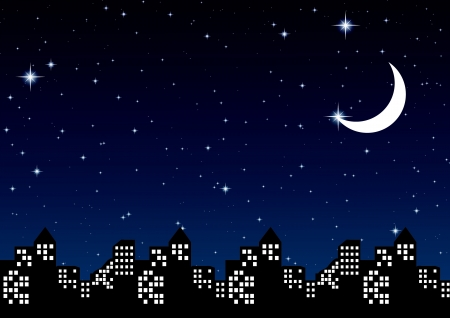 night sky with stars and Moon in city, vector illustration