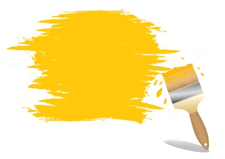 redecorate: paint brush on white wall with sample text vector illustration
