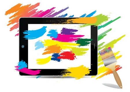 paint brush colorful on tablet computer , vector illustration