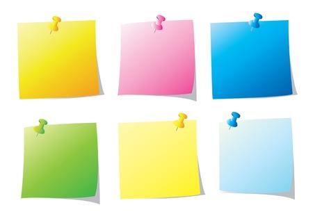 bulletin board: set of paper note vector illustration