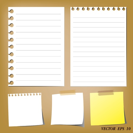 set of paper designs  paper sheets and note paper  Stock Vector - 16319307