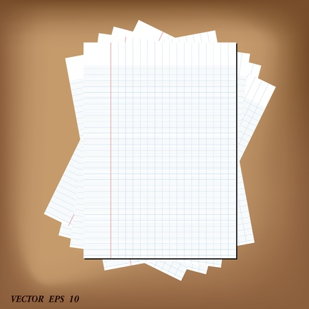 old notebook: paper sheet for writing vector illustration