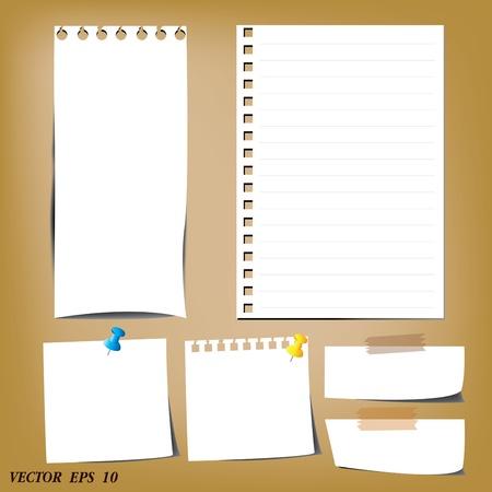 revestido: conjunto de desenhos folhas de papel de papel e papel de nota