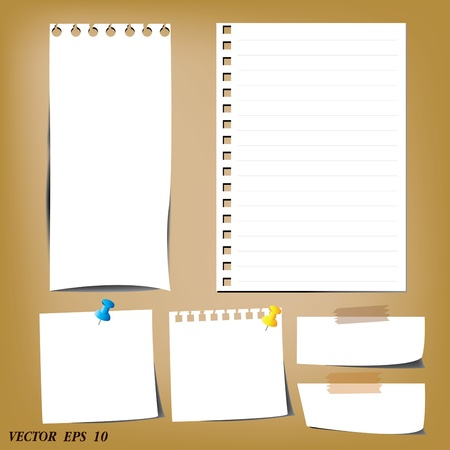 notebook page: set of paper designs  paper sheets and note paper
