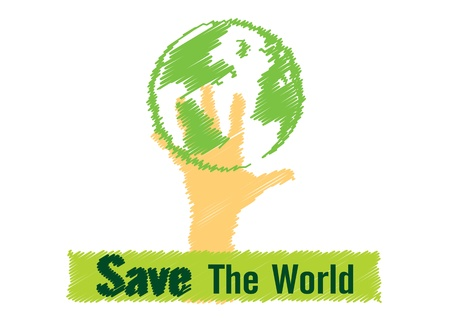 world peace: Illustration vector drawing save the world concept