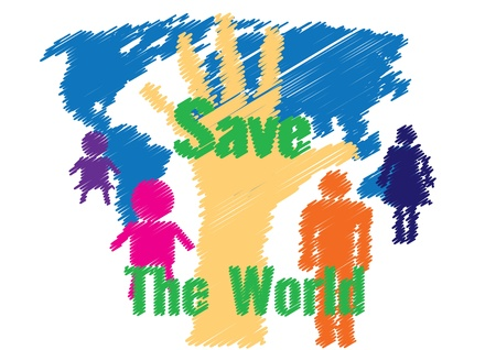 Illustration vector drawing save the world concept Vector