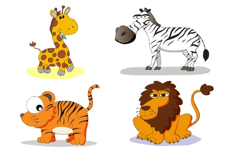 animals in the wild: set of wild animals and zoo vector illustration