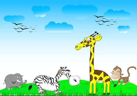 set of wild animals and zoo vector illustration