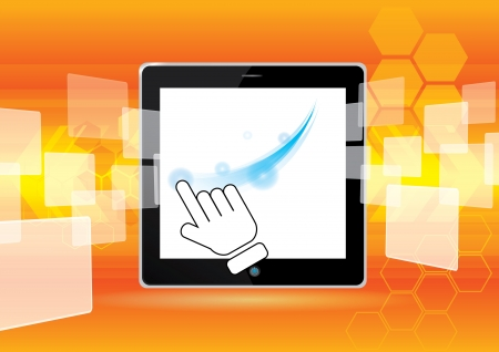 computer tablet and abstract vector illustration background