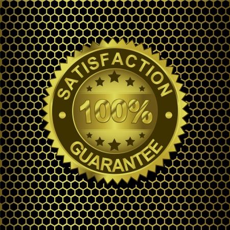 Satisfaction Guarantee on gold background Illustration