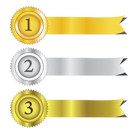 Gold, silver and bronze award ribbons Illustration