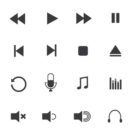 pause button: Media player icons Illustration