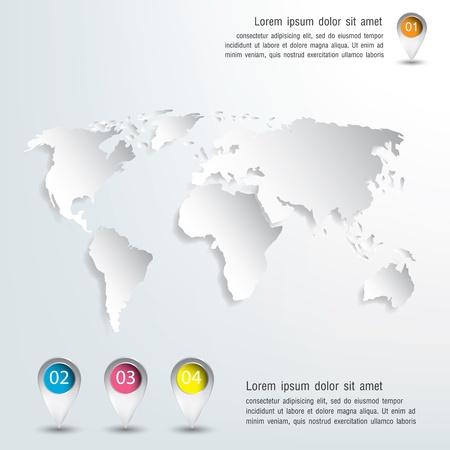 corporativo: 3d vector mapa del mundo de la ilustración y la infografía Diseño Vectores