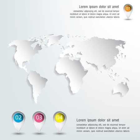 corporate world: 3d vector world map illustration and infographics Design