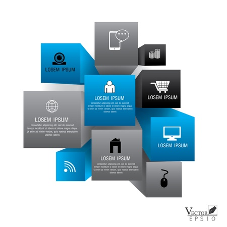 Cube box for business concept with icons, Modern template Design, infographics