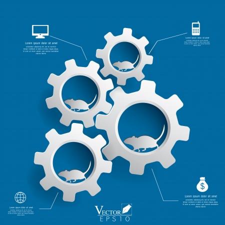 Gears Hintergrund Infografiken Design Vektor-Illustration EPS 10