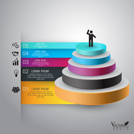 Business Infographics pyramid Vector illustration. can be used for workflow layout, diagram, number options, web design, infographics, business brochure. illustration