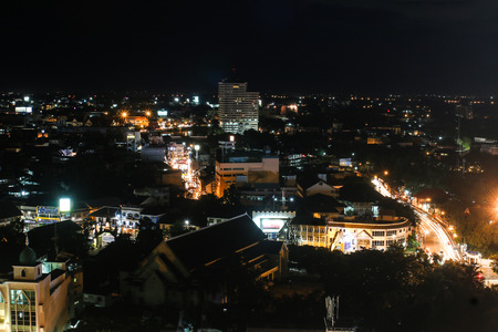 culturally: CHIANG MAI, THAILAND - JULY 14, 2014  aerial view on Chiang Mai at night  Chiang Mai is the largest and most culturally significant city in northern Thailand Editorial