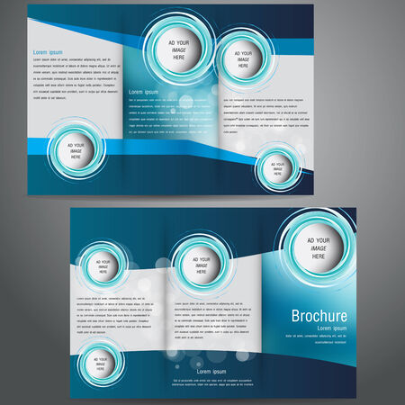brochure business template design with blue elements. Vector
