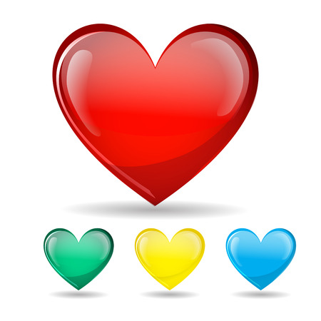 Establece corazón Símbolo del amor brillante. Aislado en blanco. Ilustración del vector. fondo
