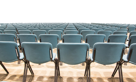 chairs in conference hall on white background
