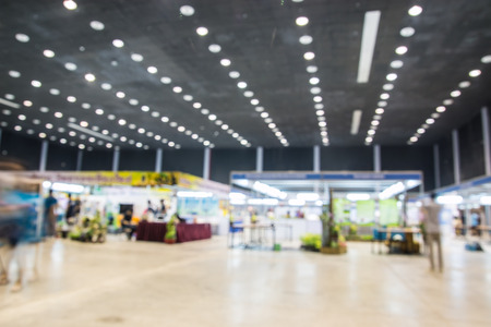 Exhibition Hall blurred people walking Foto de archivo