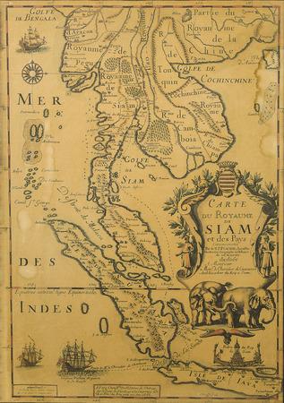 brujula antigua: Antique Tailandia mapa del siglo XVII Foto de archivo