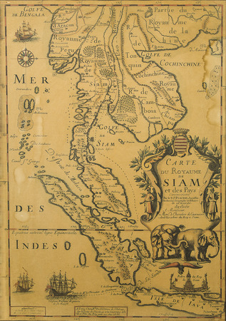 south east asia map: Antique Thailand map from XVII century