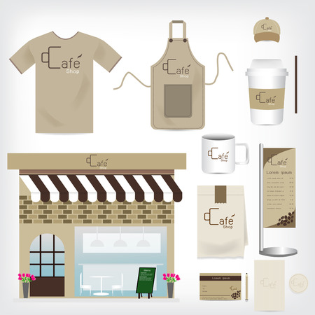 corporate identity template: Vector Cafe Shop Set can be used for Layout, Flyer, banner, uniform, package, infographics, template.