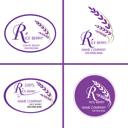 rice plant: Rice berry Vector logo for Corporate identity logo