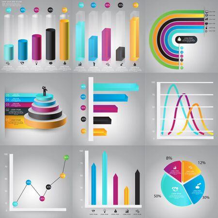 grafica de barras: Infografía plantillas de diseño establecidas. Gráficos, diagramas, elementos del vector para los datos y estadísticas comerciales de diseño.