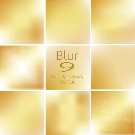 gold colour: set of 9 blurred of gold background Vector Illustration