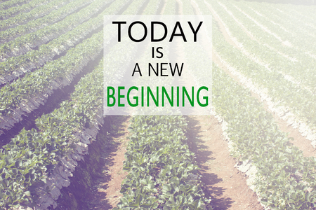 beginning: Today is a New Beginning with nature background, Retro style image