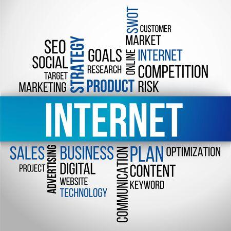 internet business: Internet Word Cloud, business Concept Background Vector