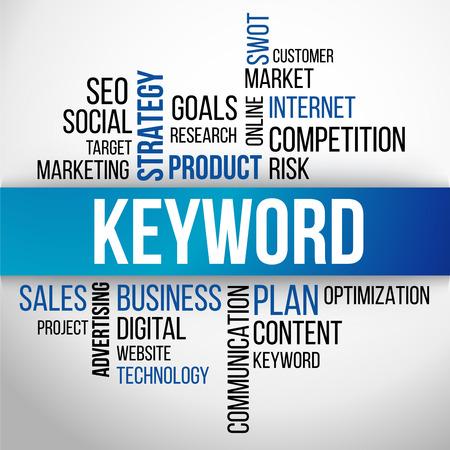 Parole chiave di Word Cloud, business concetto sfondo vettoriale Vettoriali