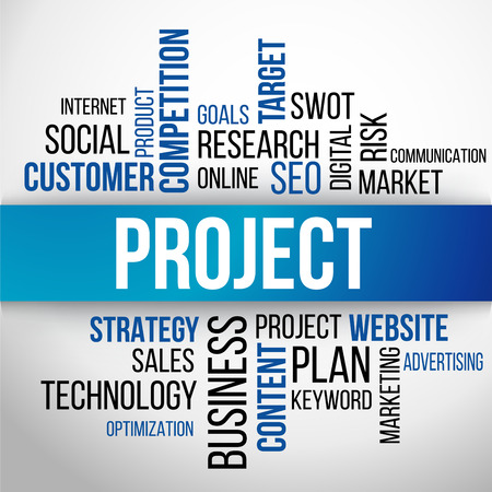 business project: Project Word Cloud, business Concept Background Vector
