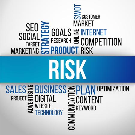 business risk: Risk Word Cloud, business Concept Background Vector Illustration