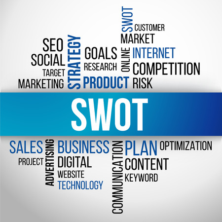 swot analysis: SWOT Word Cloud, business Concept Background Vector Illustration