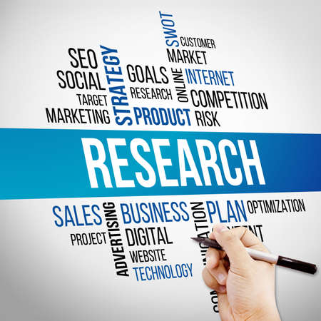 word cloud: Research Word Cloud, business Concept Stock Photo
