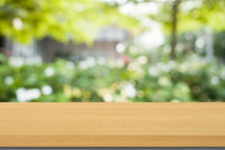 empty wood and blur green nature bokeh background can be used for product display template Stok Fotoğraf