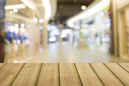 empty wood and blur people shopping mall background can be used for product display template Stok Fotoğraf