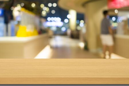 empty wood table top and blur restaurant background can be used for product display template Stok Fotoğraf