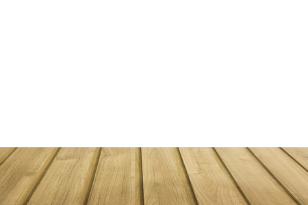 empty wood table top isolated on white background can be used for display or montage your products Stok Fotoğraf