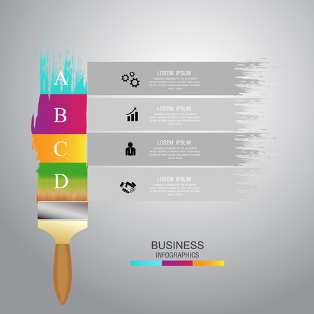 paintbrush colorful infographic presentation templates. Can be used for work flow layout, diagram, number options. Vector.