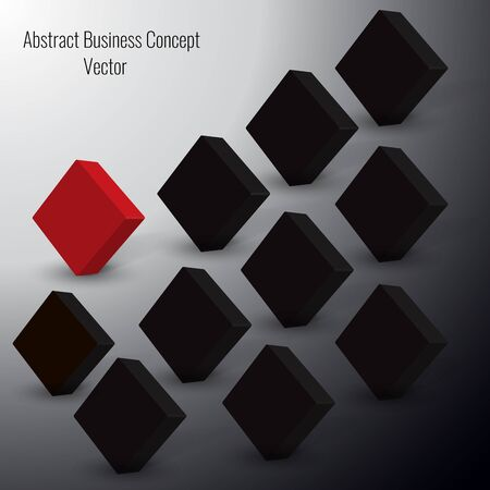 standing out from the crowd: 3d Red Squares Vector standing out from crowd of plenty identical black fellows. Leadership, business success concept.