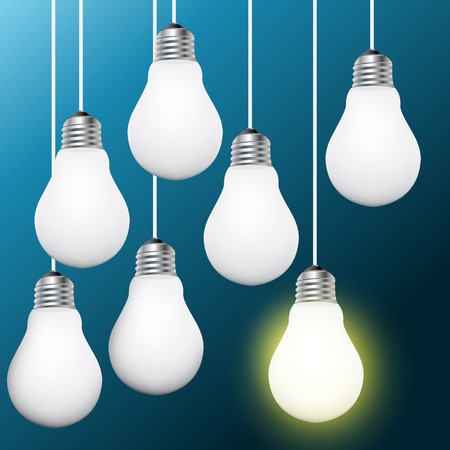 One Light bulb turn on Vector. Concept for outstanding key person of Leadership, business success concept for creative idea.