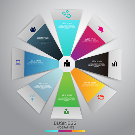 Infographic design template 8 options pie chart and business concept. Can be used for work flow layout, diagram, number options. Vector. Çizim